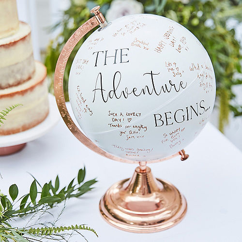 Ginger Ray White & Metallic Rose Gold Globe Guest Book Image #1