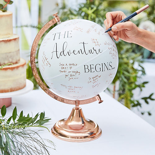 Ginger Ray White & Metallic Rose Gold Globe Guest Book Image #2