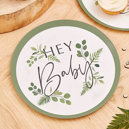 Ginger Ray White Hey Baby Botanical Paper Plates, 9in, 8ct Image #1