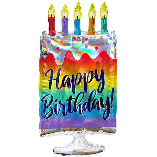 Giant Iridescent Happy Birthday Cake Balloon, 30in Image #1