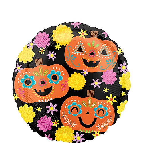 Sugar Skull Pumpkins Foil Balloon, 18in - Day of the Dead Image #1