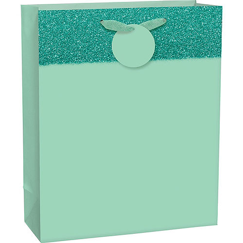 Large Glitter & Matte Mint Green Gift Bag 10 1/2in x 13in Image #1