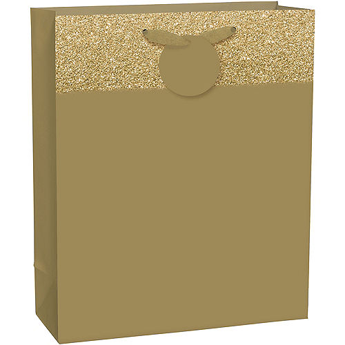 Large Glitter & Matte Gold Gift Bag 10 1/2in x 13in Image #1