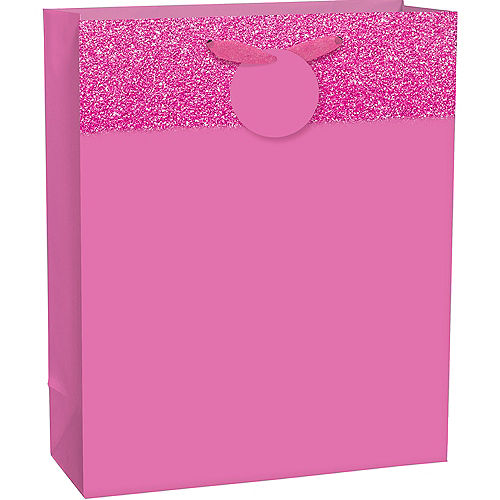 Large Glitter & Matte Bright Pink Gift Bag 10 1/2in x 13in Image #1