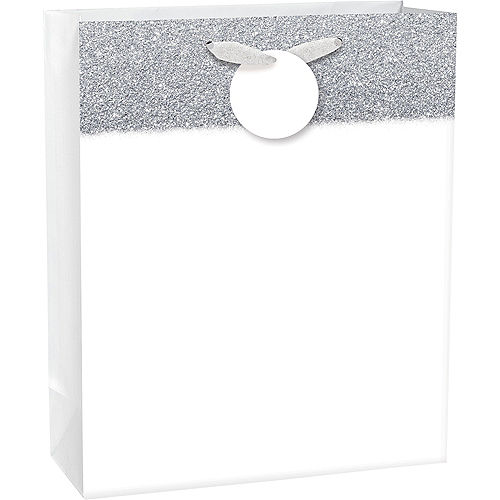 Large Glitter & Matte White Gift Bag 10 1/2in x 13in Image #1