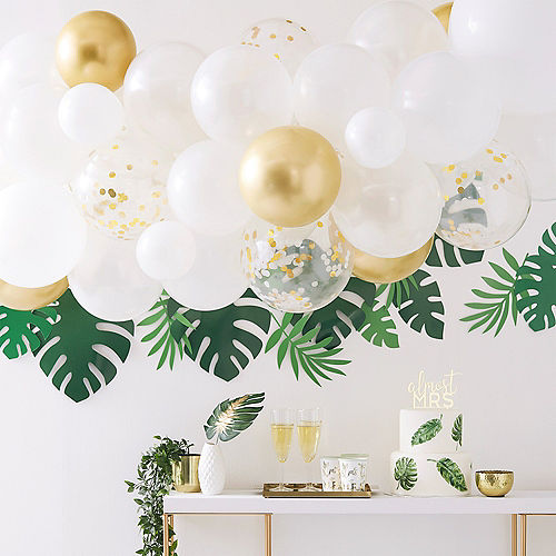 Air-Filled Ginger Ray White & Gold Balloon Arch Kit 57pc Image #1