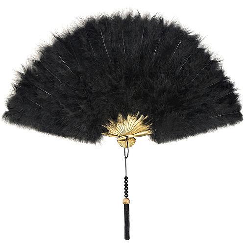 Roaring 20s Black Feather Fan Image #1