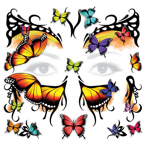 3D Monarch Butterfly Face Tattoo Kit 30pc Image #1