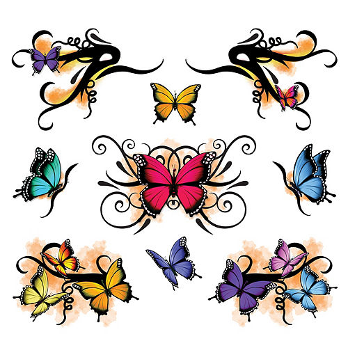 3D Monarch Butterfly Face Tattoo Kit 30pc Image #2