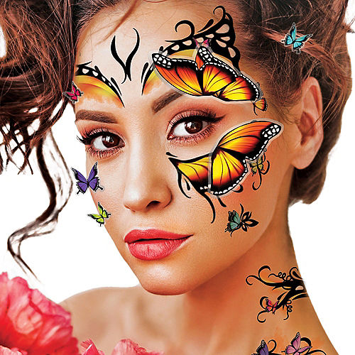 3D Monarch Butterfly Face Tattoo Kit 30pc Image #3