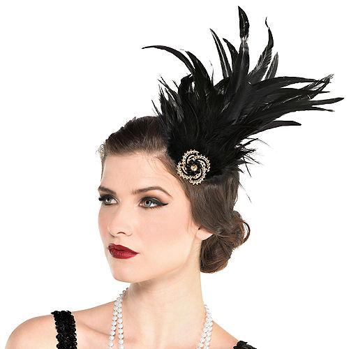 Black Feather Flapper Headpiece Image #1
