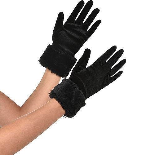 Black Fur Cuff Gloves Image #1