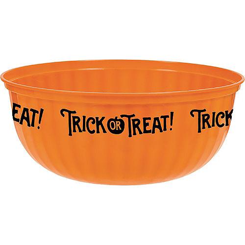Orange Trick-or-Treat Plastic Serving Bowl Image #1
