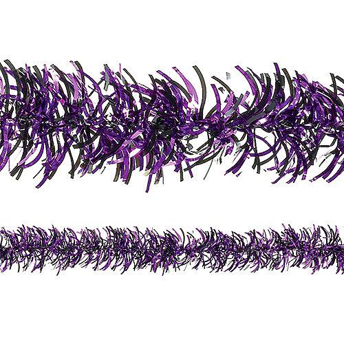 Black & Purple Tinsel Garland, 9ft Image #1
