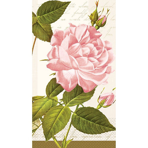 Vintage Rose Guest Towels 48ct with Caddy Image #2