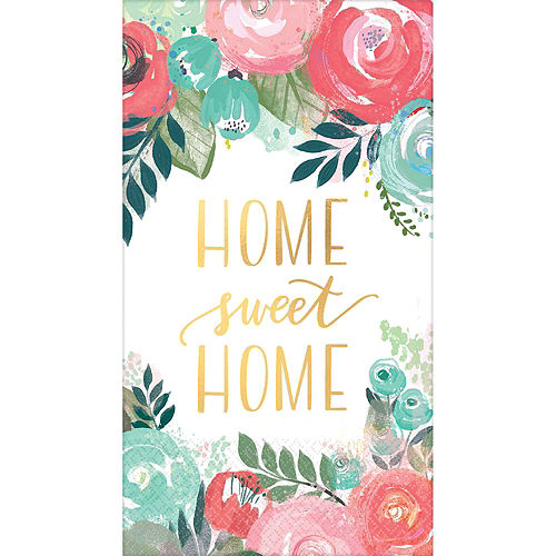 Metallic Home Sweet Home Guest Towels 48ct with Caddy Image #2
