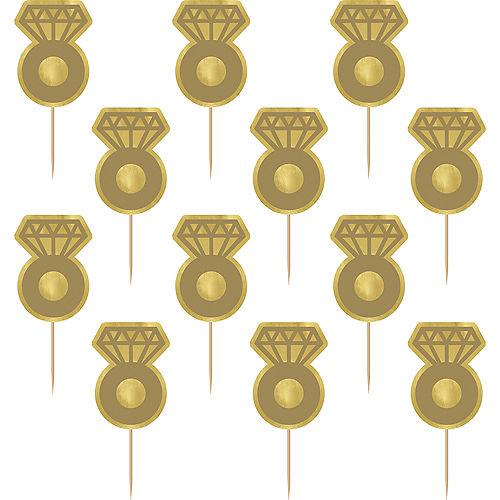 Metallic Gold Diamond Ring Cupcake Picks, 24ct Image #1