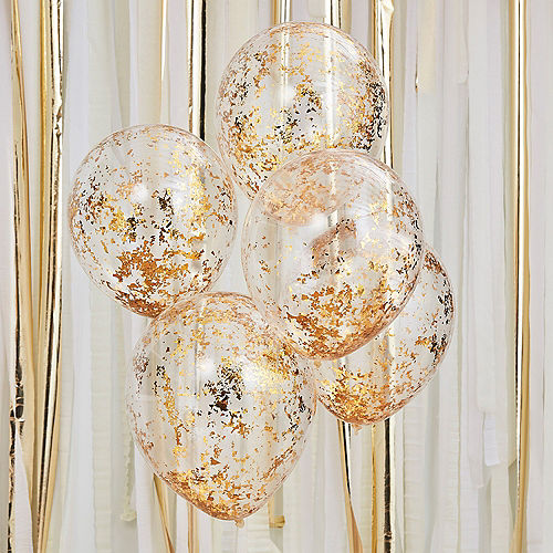 Ginger Ray Metallic Gold Foil Confetti Balloons, 12in, 5ct Image #1