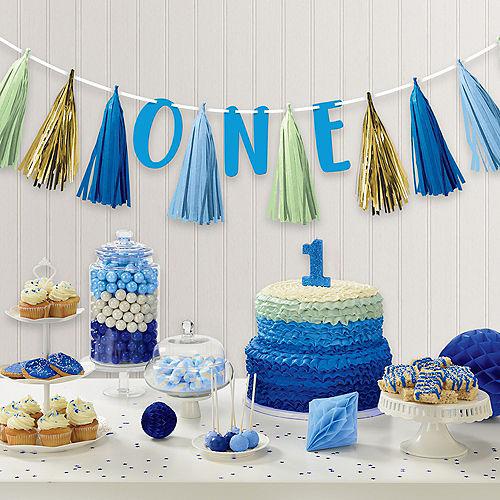Blue & Gold First Birthday Tassel Garland Image #2