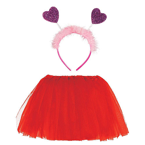 Child Red Glitter Valentine's Day Accessory Set Image #1