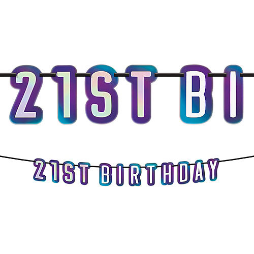 Iridescent Finally 21 Birthday Letter Banner Image #1