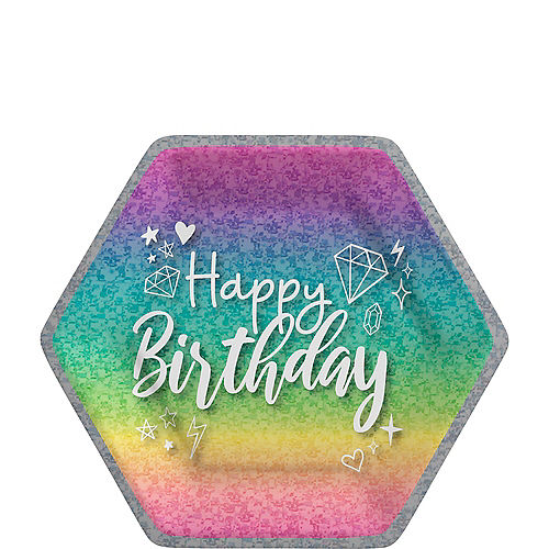 Prismatic Sparkle Birthday Hexagonal Paper Lunch Plates, 9in, 8ct Image #1