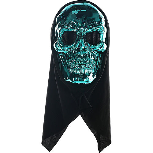 Metallic Blue Skull Face Mask Image #2