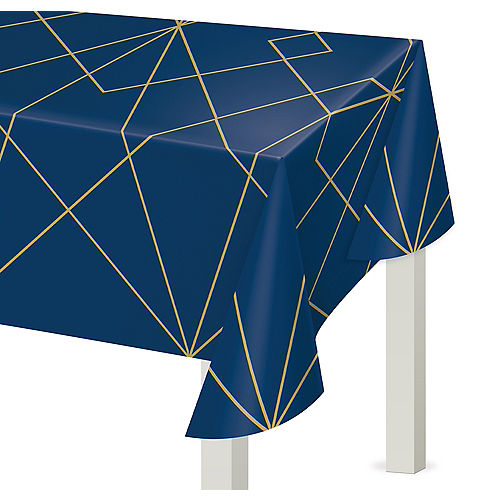 Navy & Gold Geode Plastic Table Cover Image #1