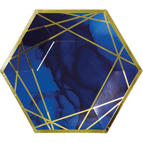 Navy & Gold Geode Hexagon Dinner Plates 8ct Image #1