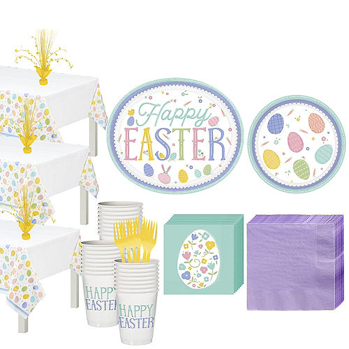 Pretty Pastel Easter Tableware Kit for 54 Guests Image #1
