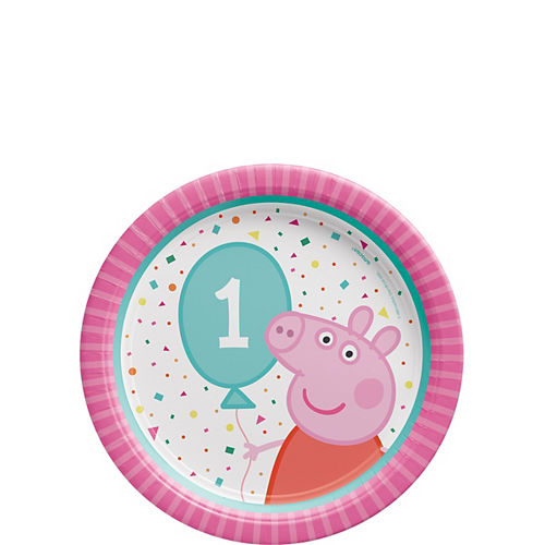 Peppa Pig Confetti Party 1st Birthday Dessert Plates, 7in, 8ct Image #1