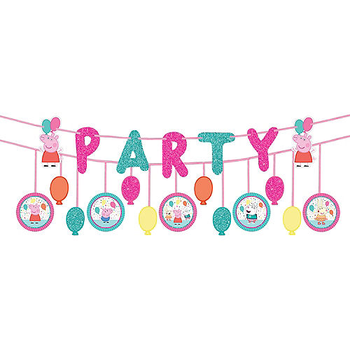 Glitter Peppa Pig Confetti Party Banners 2ct Image #1