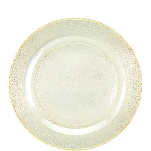 Glitter Gold & White Premium Plastic Dessert Plates, 7.5in, 10ct Image #1