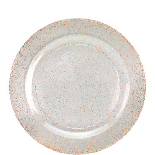 Rose Gold Glitter & White Premium Plastic Dessert Plates, 7.5in, 10ct Image #1