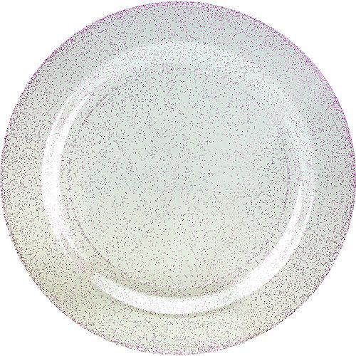 Purple Glitter & White Premium Plastic Dinner Plates, 10.25in, 10ct Image #1