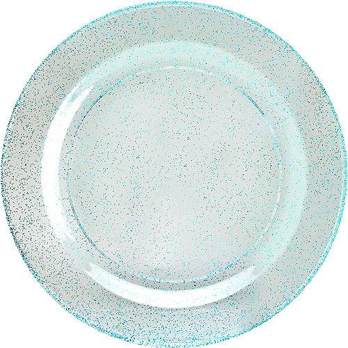 Blue Glitter & White Premium Plastic Dessert Plates, 7.5in, 10ct Image #1