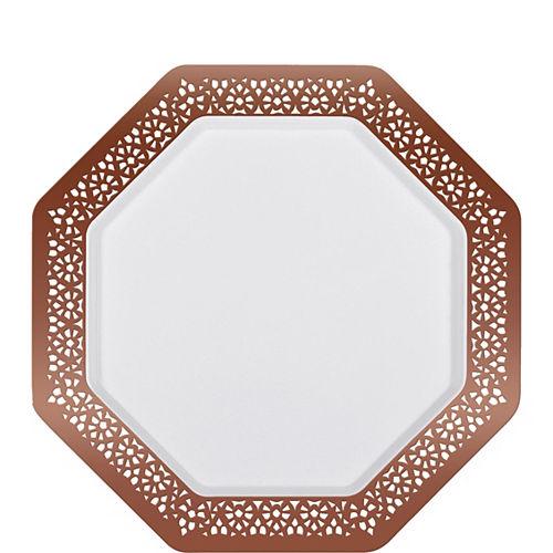 Rose Gold Lace Border Octagonal Premium Plastic Dessert Plates, 7.5in, 10ct Image #1