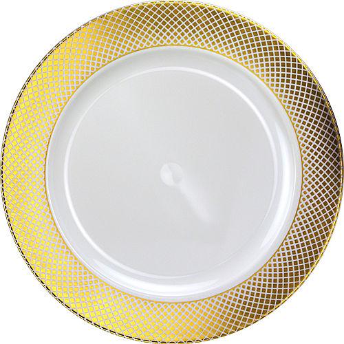 Metallic Gold Crisscross Border Premium Plastic Chargers, 12in, 10ct Image #1