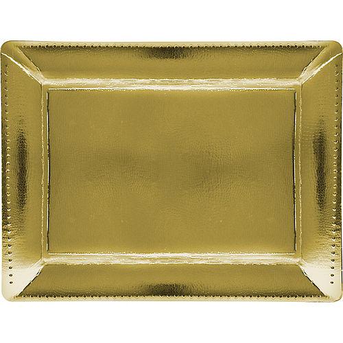 Metallic Gold Rectangular Paper Platters, 12in x 16in, 2ct Image #1