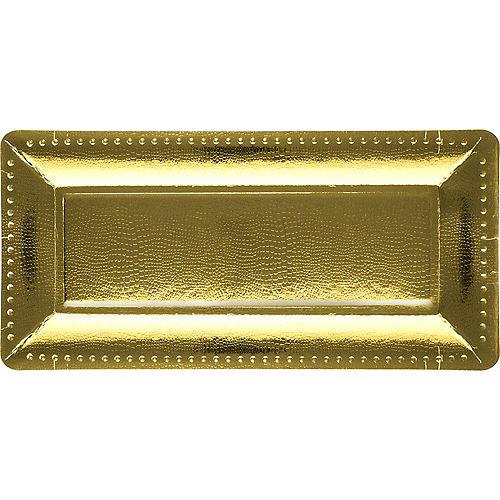 Metallic Gold Long Rectangular Paper Platters, 5.5in x 16in, 3ct Image #1
