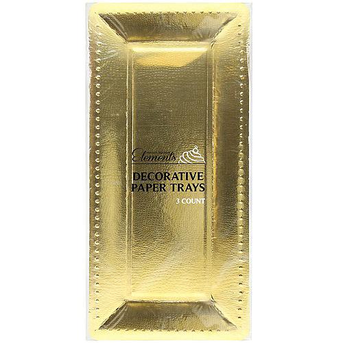 Metallic Gold Long Rectangular Paper Platters, 5.5in x 16in, 3ct Image #2