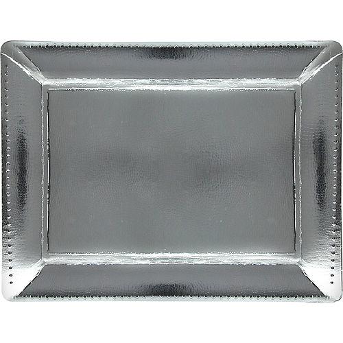 Metallic Silver Rectangular Paper Platters, 12.25in x 16in, 2ct Image #1