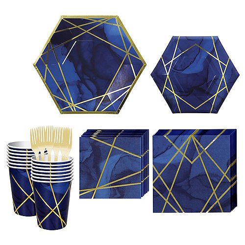 Navy & Gold Geode Tableware Kit for 16 Guests Image #1