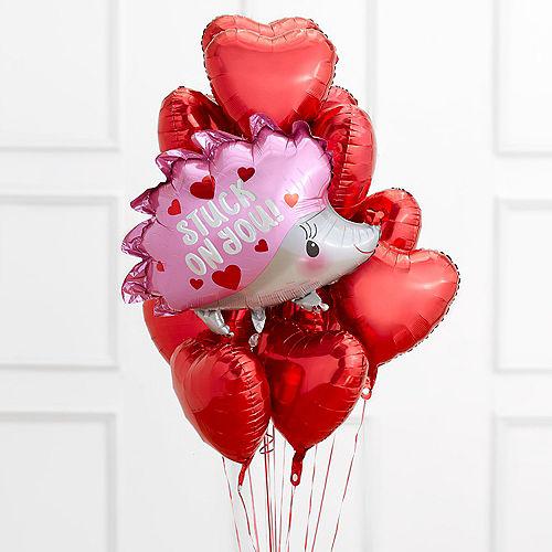 Hedgehog & Red Heart Balloon Bouquet Image #1