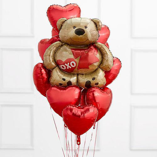 Brown Bear & Red Heart Balloon Bouquet Image #1