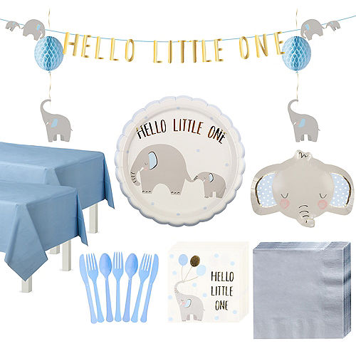 Blue Little Peanut Baby Shower Tableware Kit for 32 Guests Image #1