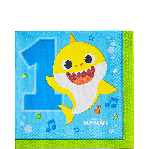 Baby Shark 1st Birthday Party Tableware Kit for 16 Guests Image #5