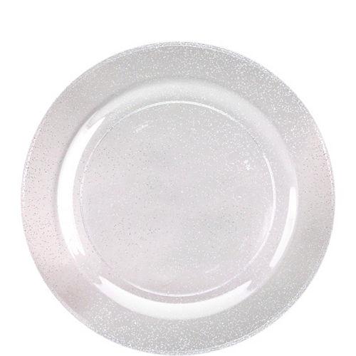 Silver Glitter & White Premium Plastic Dessert Plates, 7.5in, 10ct Image #1
