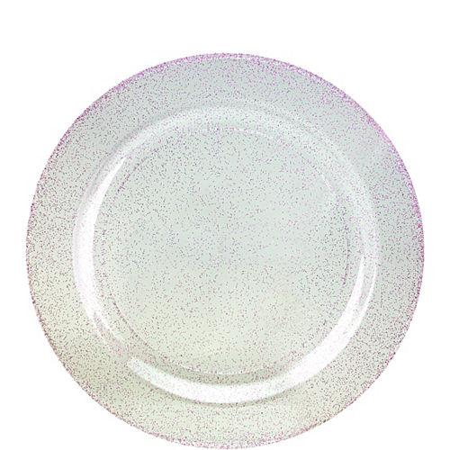 Purple Glitter & White Premium Plastic Dessert Plates, 7.5in, 10ct Image #1