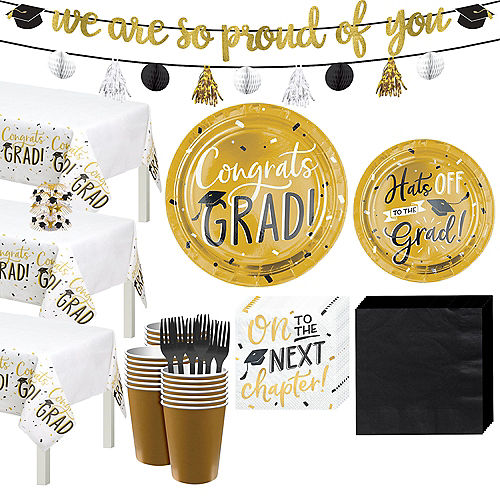 Black & Gold Hats Off Graduation Party Tableware Kit for 64 Guests Image #1